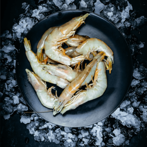 Australian whole banana prawns raw or frozen.