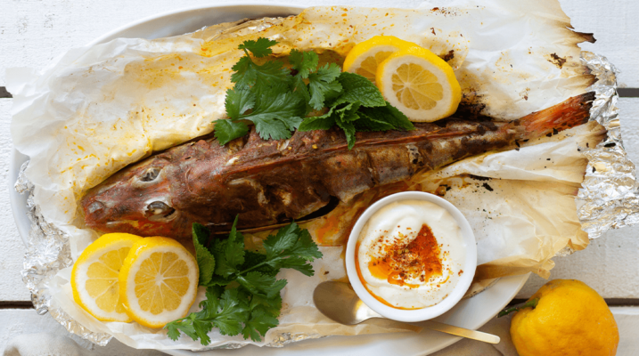 Whole Fish w/ Curry Paste & Chilli Yoghurt